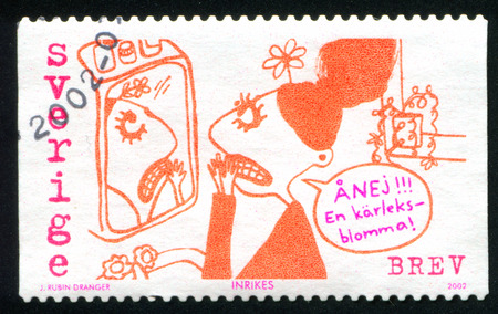 SWEDEN - CIRCA 2002: stamp printed by Sweden, shows Love and Miss Terrified, by Joanna Dranger, circa 2002