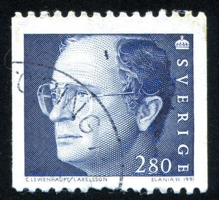 SWEDEN - CIRCA 1991: stamp printed by Sweden, shows King Carl XVI Gustaf, circa 1991