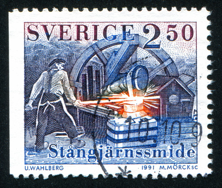 ironworks: SWEDEN - CIRCA 1991: stamp printed by Sweden, shows Ironworks forge, circa 1991