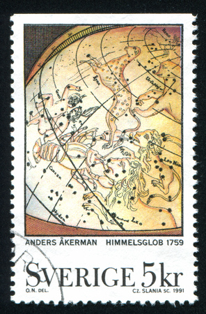 SWEDEN - CIRCA 1991: stamp printed by Sweden, shows Celestial globe by Anders Akerman, circa 1991