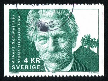 theologian: SWEDEN - CIRCA 1991: stamp printed by Sweden, shows Albert Schweitzer, circa 1991