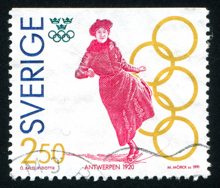 SWEDEN - CIRCA 1991: stamp printed by Sweden, shows Magda Julin, figure skating, Antwerp, circa 1991