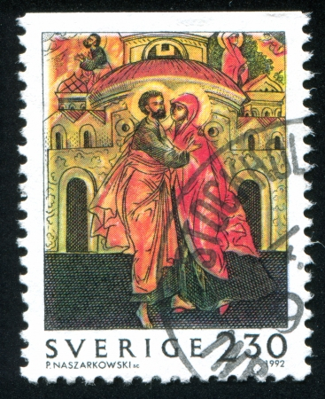 anna: SWEDEN - CIRCA 1992: stamp printed by Sweden, shows Joachim and Anna, circa 1992