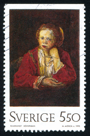 SWEDEN - CIRCA 1992: stamp printed by Sweden, shows Kitchen Maid, by Rembrandt, circa 1992