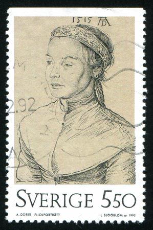 durer: SVEZIA - CIRCA 1992: timbro stampato dalla Svezia, mostra ritratto di una ragazza, di Albrecht Durer, circa 1992 Editoriali