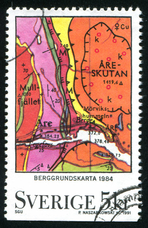 stratigraphy: SWEDEN - CIRCA 1991: stamp printed by Sweden, shows Bedrock Map, Geological Survey, circa 1991