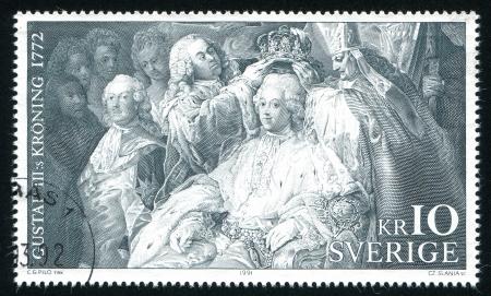 archbishop: SWEDEN - CIRCA 1991: stamp printed by Sweden, shows Chancellor Arvid Horn, Archbishop Mattias Beronius holding crown above Gustavus III, circa 1991