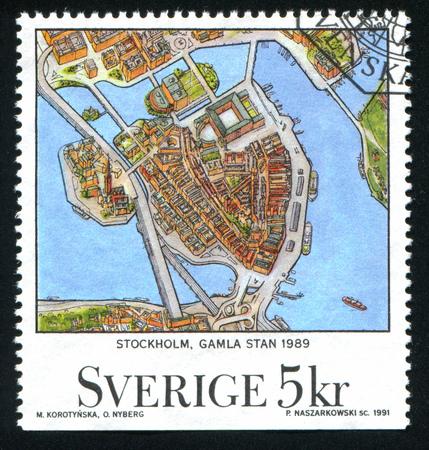SWEDEN - CIRCA 1991: stamp printed by Sweden, shows Stockholm, circa 1991