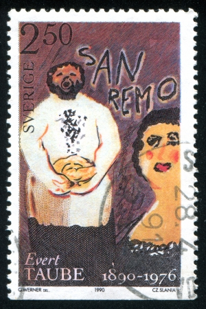 SWEDEN - CIRCA 1990: stamp printed by Sweden, shows Happy baker in San Remo, circa 1990
