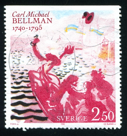bellman: SWEDEN - CIRCA 1990: stamp printed by Sweden, shows Proud City by Carl Michael Bellman, circa 1990 Editorial