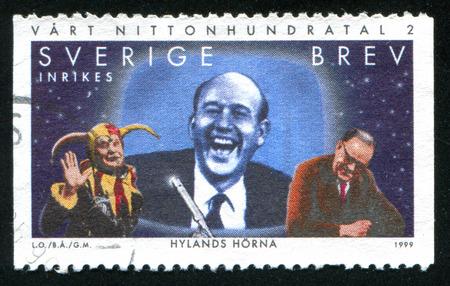 tage: SWEDEN - CIRCA 1999: stamp printed by Sweden, shows Hyland Corner, Carl-Gustaf Lindstedt, Prime Minister Tage Erlander on television, circa 1999 Editorial