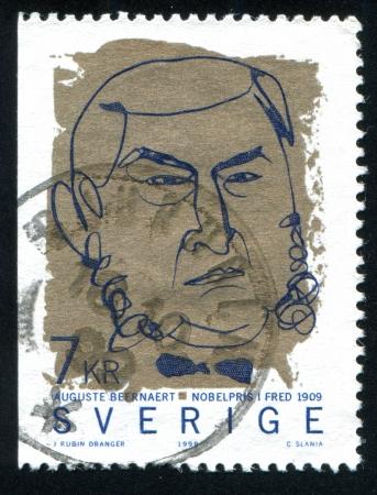 laureates: SWEDEN - CIRCA 1999: stamp printed by Sweden, shows Auguste Beernaert, circa 1999 Editorial