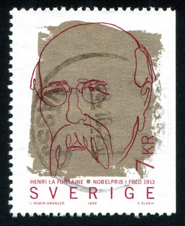 laureates: SWEDEN - CIRCA 1999: stamp printed by Sweden, shows Henri La Fontaine, circa 1999