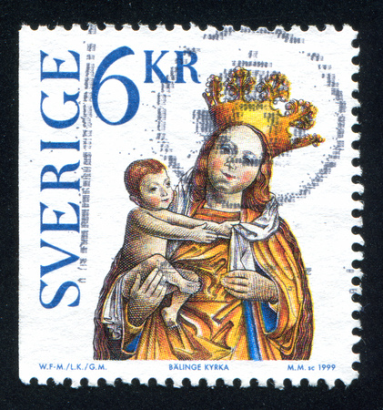 SWEDEN - CIRCA 1999: stamp printed by Sweden, shows Madonna and child icon from Balinge Church, circa 1999