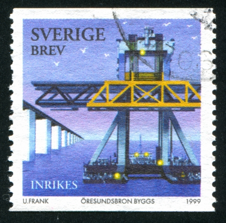 bridge footing: SWEDEN - CIRCA 1999: stamp printed by Sweden, shows Construction of Oresund Bridge, circa 1999 Editorial