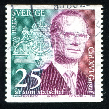 SWEDEN - CIRCA 1998: stamp printed by Sweden, shows King Carl XVI Gustaf, circa 1998 Editorial