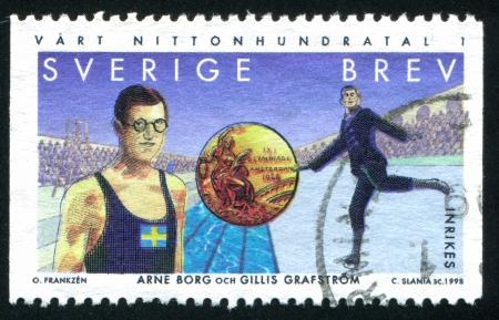 olympic symbol: SWEDEN - CIRCA 1998: stamp printed by Sweden, shows Arne Borg, swimmer, Gillis Grafstrom, figure skater, circa 1998