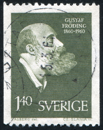 gustaf: SWEDEN - CIRCA 1960: stamp printed by Sweden, shows Gustaf Froding, circa 1960