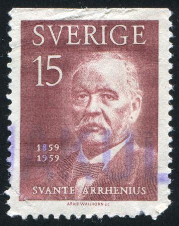 savant: SWEDEN - CIRCA 1959: stamp printed by Sweden, shows Svante Arrhenius, circa 1959 Editorial