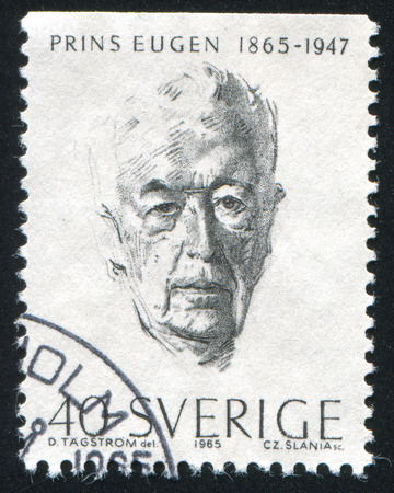 hoariness: SWEDEN - CIRCA 1965: stamp printed by Sweden, shows Prince Eugen, circa 1965 Editorial