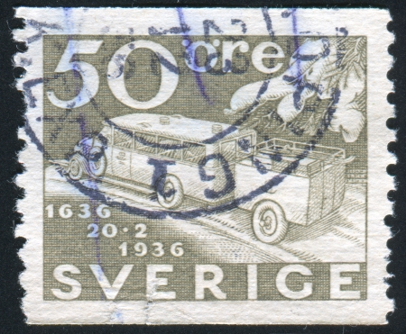 window seal: SWEDEN - CIRCA 1936: stamp printed by Sweden, shows Mail Truck and Trailer, circa 1936 Editorial