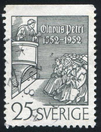 preaching: SWEDEN - CIRCA 1952: stamp printed by Sweden, shows Olaus Petri Preaching, circa 1952 Editorial