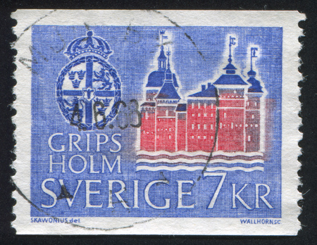 crown spire: SWEDEN - CIRCA 1967: stamp printed by Sweden, shows Gripsholm Castle, circa 1967 Editorial