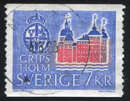 crown spire: SWEDEN - CIRCA 1967: stamp printed by Sweden, shows Gripsholm Castle, circa 1967 Editorial