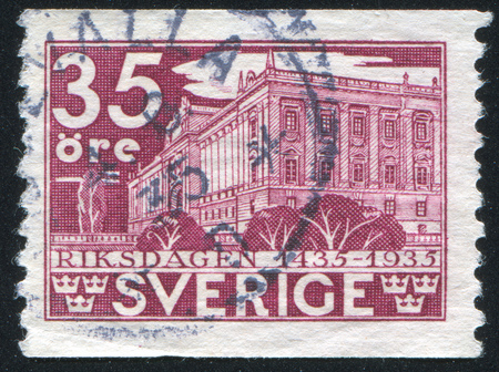 SWEDEN - CIRCA 1935: stamp printed by Sweden, shows House of Parliament in Stockholm, circa 1935