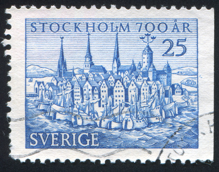 SWEDEN - CIRCA 1953: stamp printed by Sweden, shows Old Stokholm, circa 1953