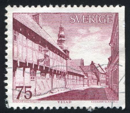 window seal: SWEDEN - CIRCA 1974: stamp printed by Sweden, shows Ystad, circa 1974 Editorial