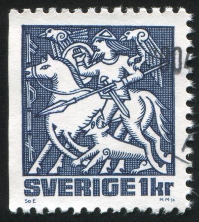 odin: SWEDEN - CIRCA 1981: stamp printed by Sweden, shows Odin, circa 1981 Editorial