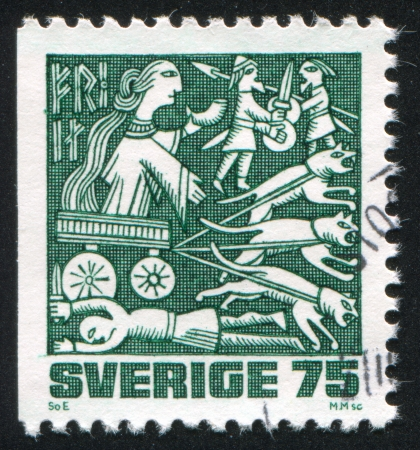 fertility goddess: SWEDEN - CIRCA 1981: stamp printed by Sweden, shows Freya, circa 1981 Editorial