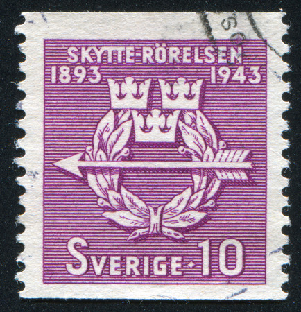 frondage: SWEDEN - CIRCA 1943: stamp printed by Sweden, shows Rifle Federation Emblem, circa 1943