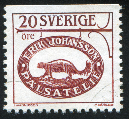 SWEDEN - CIRCA 1985: stamp printed by Sweden, shows Trade sign of furrier in Stockholm, circa 1985