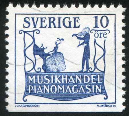 SWEDEN - CIRCA 1985: stamp printed by Sweden, shows Trade sign of music shop in Slottsgatan, circa 1985