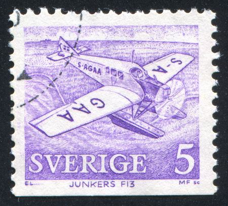 SWEDEN - CIRCA 1972: stamp printed by Sweden, shows Junkers F13, circa 1972