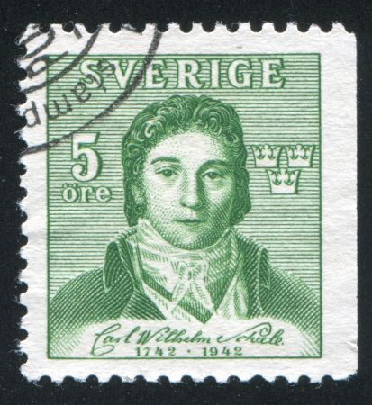 savant: SWEDEN - CIRCA 1942: stamp printed by Sweden, shows Karl Wilhelm Sheele, circa 1942