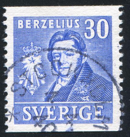 boffin: SWEDEN - CIRCA 1939: stamp printed by Sweden, shows Jons Jakob Berzelius, circa 1939