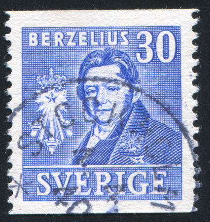 SWEDEN - CIRCA 1939: stamp printed by Sweden, shows Jons Jakob Berzelius, circa 1939