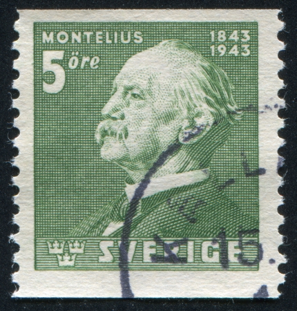 SWEDEN - CIRCA 1943: stamp printed by Sweden, shows Oscar Montelius, circa 1943