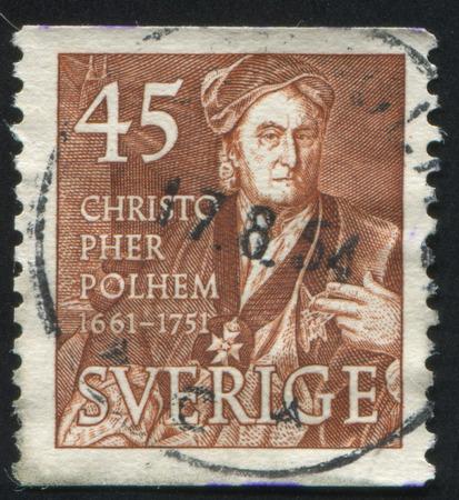 boffin: SWEDEN - CIRCA 1951: stamp printed by Sweden, shows Christopher Polhem, circa 1951