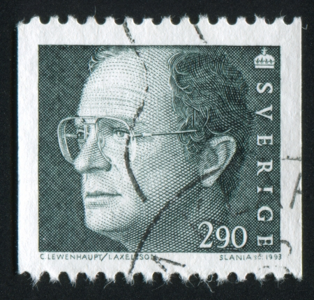 gustaf: SWEDEN - CIRCA 1993: stamp printed by Sweden, shows King Carl XVI Gustaf, circa 1993