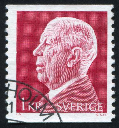 gustaf: SWEDEN - CIRCA 1972: stamp printed by Sweden, shows Gustaf VI Adolf, circa 1972