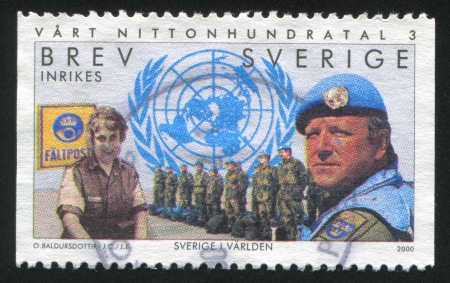SWEDEN - CIRCA 2000: stamp printed by Sweden, shows Swedish UN forces, postal clerk, circa 2000