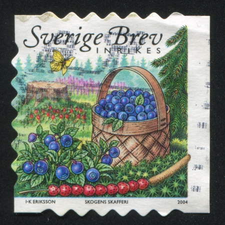 SWEDEN - CIRCA 2004: stamp printed by Sweden, shows Wild strawberries, butterfly and basket of blueberries, circa 2004