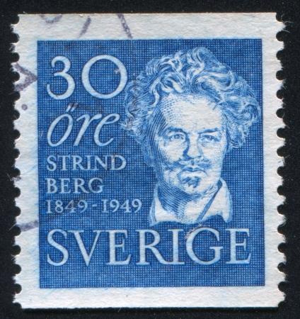 dramatist: SWEDEN - CIRCA 1949: stamp printed by Sweden, shows August Strindberg, circa 1949 Editorial