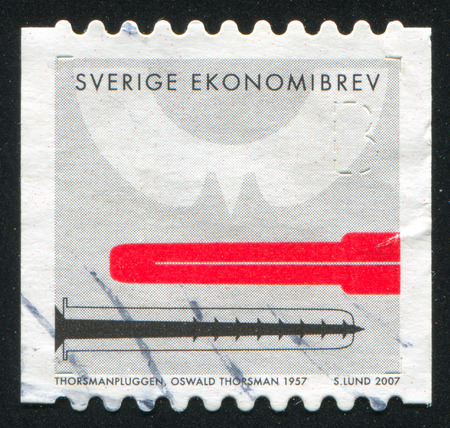 oswald: SWEDEN - CIRCA 2007: stamp printed by Sweden, shows Wall anchor for screws, by Oswald Thorsman, circa 2007