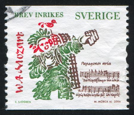 amadeus mozart: SWEDEN - CIRCA 2006: stamp printed by Sweden, shows Wolfgang Amadeus Mozart, composer, circa 2006 Editorial