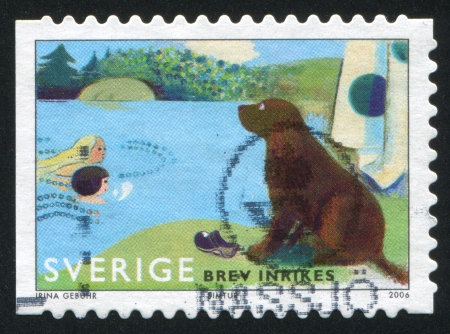 SWEDEN - CIRCA 2006: stamp printed by Sweden, shows Dog watching swimmers, circa 2006
